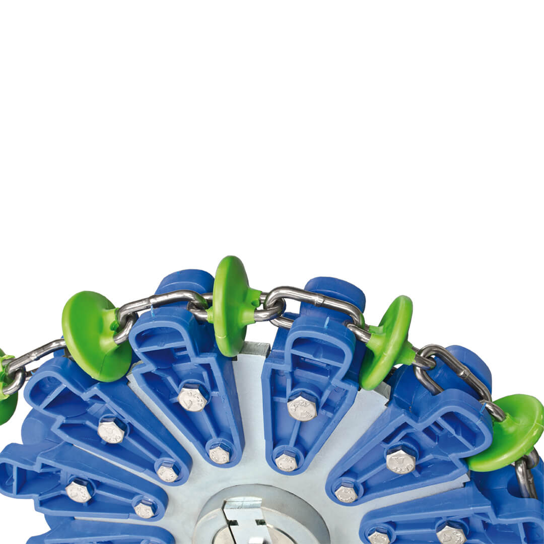 Close-up of the drive wheel for chain distribution systems